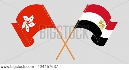 Crossed And Waving Flags Of Egypt And Hong Kong