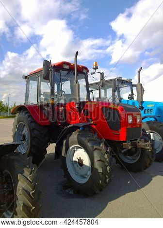 St. Petersburg, Russia - September, 2020: Famous New Modern Tractors Belarus Produced By Minsk Tract