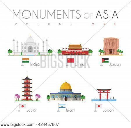 Monuments Of Asia In Cartoon Style Volume 1: Taj Mahal (india), Forbidden City (china), Petra (jorda