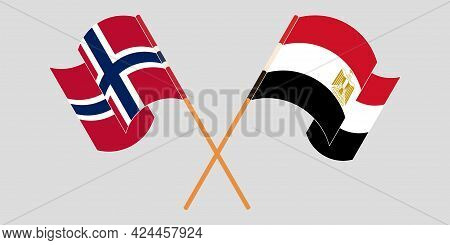 Crossed And Waving Flags Of Egypt And Norway