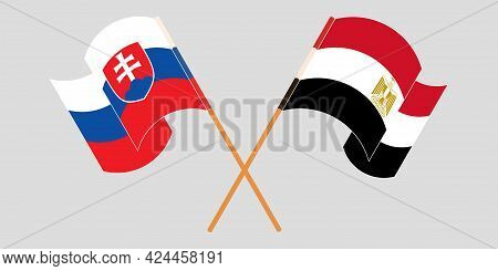 Crossed And Waving Flags Of Egypt And Slovakia