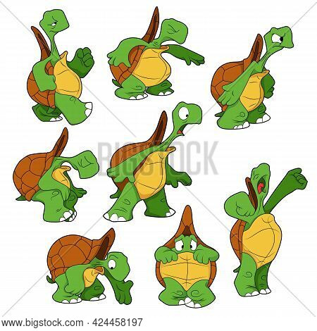 Cartoon Character. Set Of Turtles With Different Emotions. Isolated On White Background. Animal Them