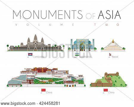 Monuments Of Asia In Cartoon Style Volume 2: Angkor Bat (cambodia), Ragastan Samrakand (uzbekistan),