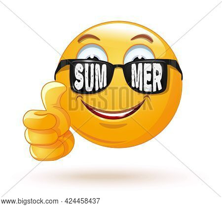 Happy Smiling Emoji In Sunglasses. Sunglasses With The Inscription - Summer. Emoticon Rejoices That