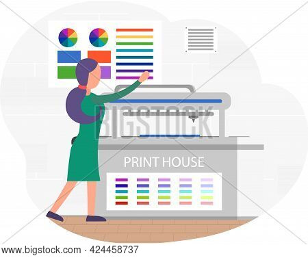 Young Woman Working In Typography. Employee Works With Equipment. Print Shop Services, Printing Proc