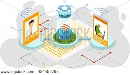 Online Collaboration, Remote Business Management, Wireless Computing Service Concept. Project Manage