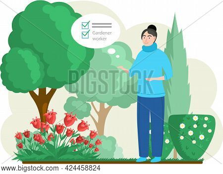 Cartoon Agricultural Female Worker. Cute Woman Planting Flowers. Adult Gardener Taking Care Of Plant