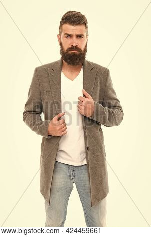 Simplicity Is Key. Modern Outfit. Stylish Casual Outfit. Menswear And Fashion Concept. Man Bearded H