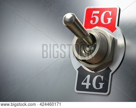 5G 4G network concept. Retro switch with different telecommunication standarts in mobile network. 3d illustration