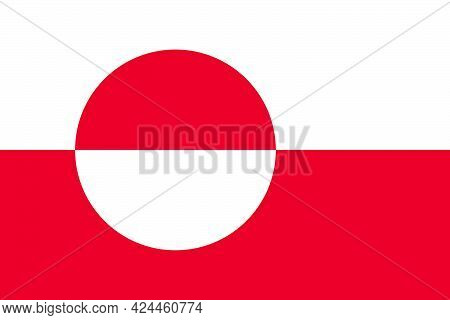 Greenland Flag In Real Proportions And Colors, Vector