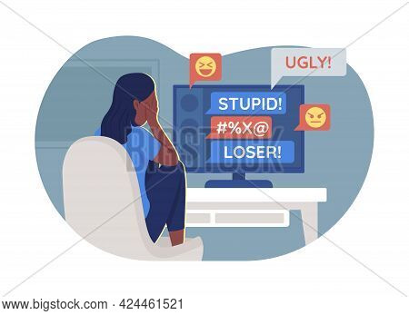 Teenager And Cyberbullying Problem 2d Vector Isolated Illustration. Suffering Teen Girl In Front Of