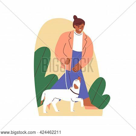 Dog Obeying Heel Command And Walking On Leash With Its Owner. Canine Instructor Teaching Doggy With