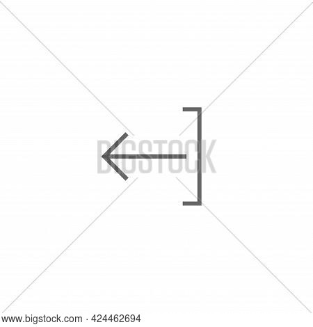 Exit Or Logout, Log Off Icon. Isolated On White. Black Right Thin Arrow With Bracket. Sign Out Icon.