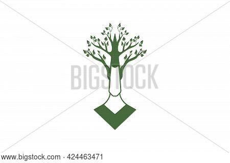 Unique Vector Logo Of A Tree Man In Flat Style.