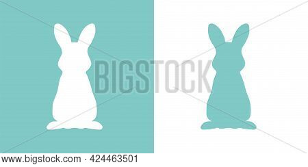 Cute Vector Illustration Of A Hand-drawn Rabbit On A White And Pastel Turquoise Background, Card Or