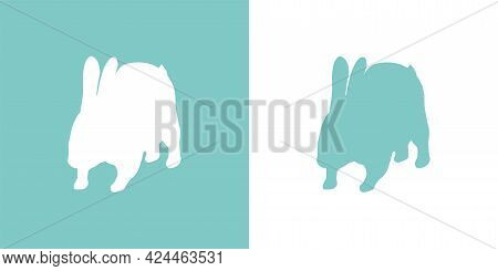 Cute Vector Illustration Of A Hand Drawn Running Rabbit On A White And Pastel Turquoise Background,