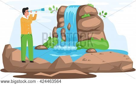Man With Binoculars Stands On Big Stone And Looks At Mountaines And Waterfalls During Travel. Guy Wi