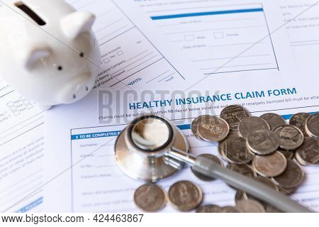 Select Focus. Saving Money For Insure Health Insurance For Healthy Care Form And Protection People L