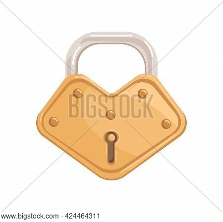 Gold Hanging Locked Padlock With Closed Metal Shackle And Keyhole. Realistic Glossy Shining Brass Me