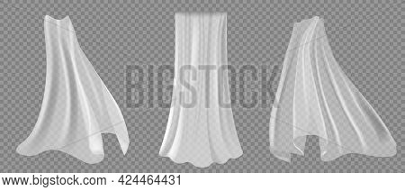 Realistic Curtains On Transparent Background. Vector. Wide, Transparent, Lear White Tulle Or Curtain