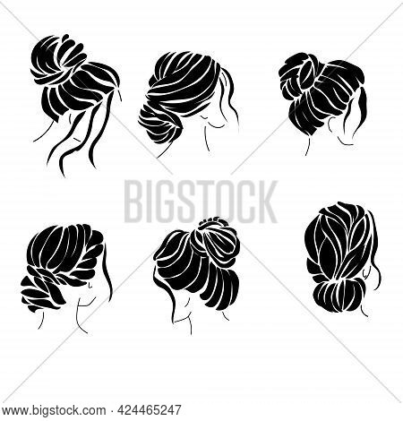 Hairstyle Bun Set Of Silhouettes, Elegant Womens Hairstyles For Hair Of Various Lengths Vector Illus
