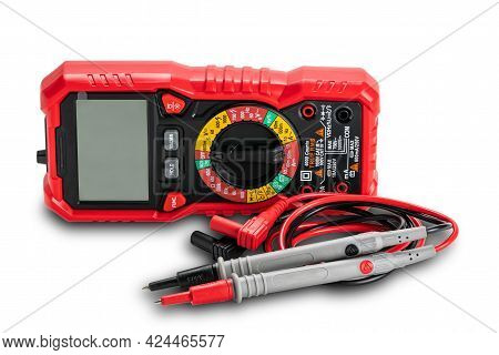 View Of Red Portable Digital Multimeters Or Multitester With Test Leads And Probes Isolated On White