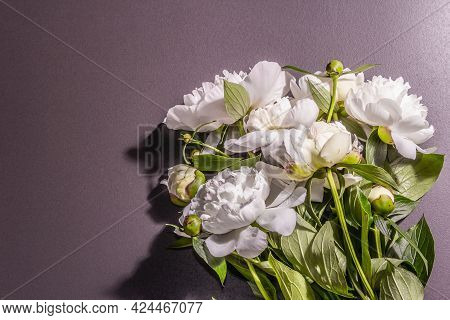 Bouquet Of Fresh White Peonies On White Old Planks Background