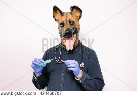 Person With A Dog Mask, Latex Gloves And A Stethoscope Holding A Syringe On White Background, Concep