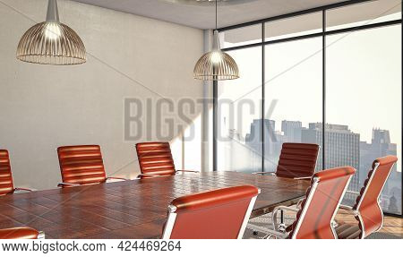 An Interior Of A Boardroom Table Surounded By Burgundy Colored Chairs In A Loft Office In The Daylig