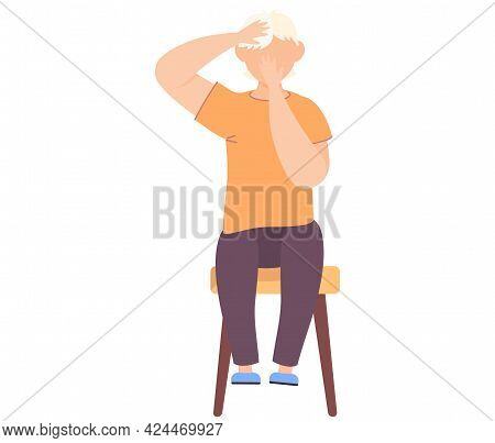 Surprised Man Sitting On Chair On White Background. Boy Covers His Mouth With His Hand And Holds His