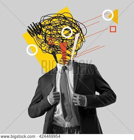 Chaos In Mans Head And Hurricane Of Thoughts. Modern Design, Contemporary Art Collage. Inspiration,