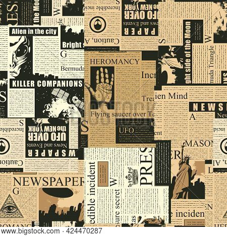 Abstract Seamless Pattern With A Collage Of Old Newspaper Clippings. Vector Background With Unreadab