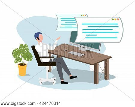 Working From Home At Relaxed Place, Freelancer Working On Computer At Home. Concept Of Script Coding