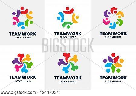 Set Of Team Logo Template Design. Creative Social People Logo. Concept Of Together, Partnership, Fri