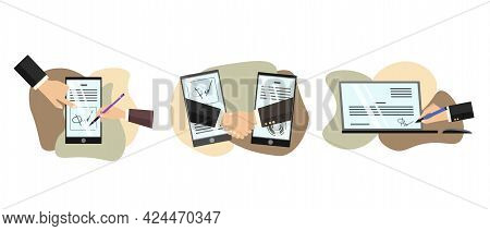 Business Partners Signing Paper Or Digital Contract Documentation. People Signing Paper And Digital