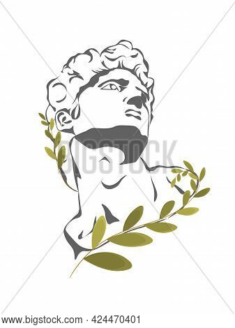 Greek Sculpture With Abstract And Floral Elements, Vector Isolated. Sculpture Head