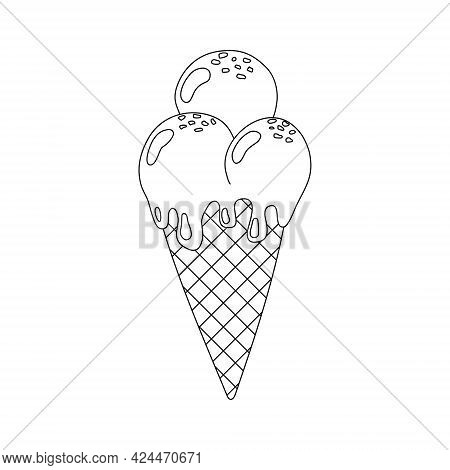 Ice Cream In Waffle Cone In Outline Style. Ice Cream Vector Illustration Isolated On White Backgroun