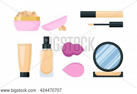 Make Up Foundation Cream Cosmetic Set. Face Tone Products And Accessories, Eye Concealer, Blushes An