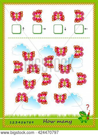 Mathematical Education For Children. Count Quantity Of Hearts In Each Direction And Write Numbers. D