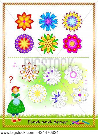 Educational Game For Kids. Find All The Flowers And Draw Them By Example. Printable Worksheet For Ch