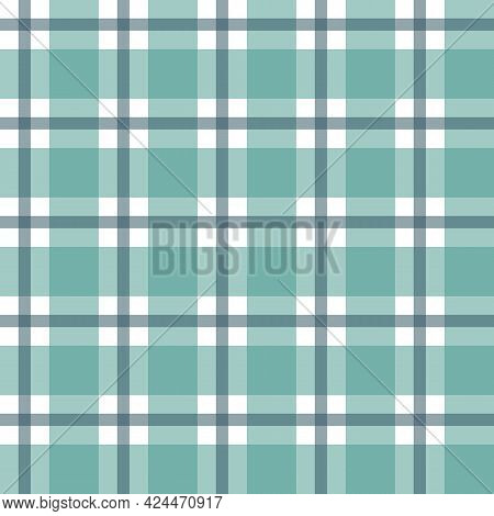 Seamless Green And White Tablecloth Pattern. Texture From For Clothes, Shirts And Blankets. Scottish