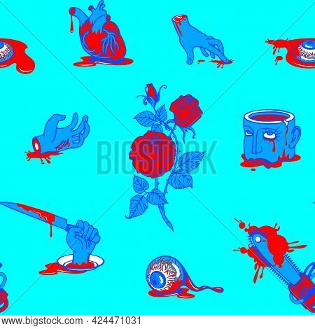 Seamless Pattern With Horrible Cartoon Pictures In A Bloody Puddles On A Blue Backdrop. Repeatable V