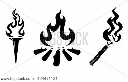 Graphic Of Torches And Bonfires, Black On White Background.
