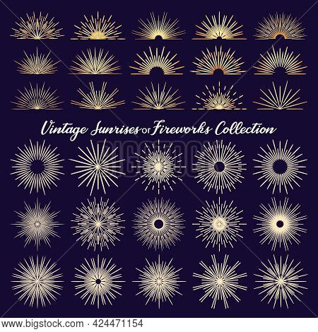 Fireworks Bursting Rays Sunrise Starburst Burst Flat Cartoon Icons Collection. Set Of Vintage Burst
