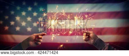 4th Of July - Independence Day Celebration With Usa Flag And Sparklers