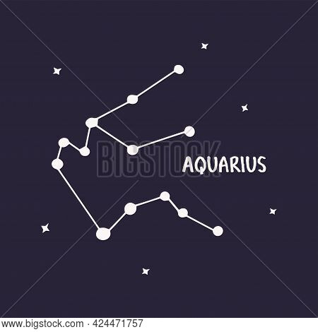 Aquarius Constellation. Colorful Vector Hand Drawn Illustration Blue Background With Stars. Space Of