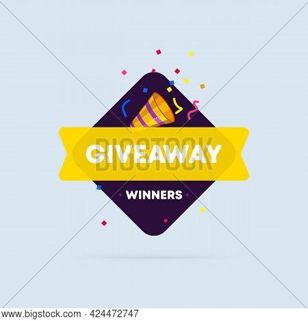 Giveaway Banner. Post Template. Enter To Win. Social Media Poster. Vector Eps 10. Isolated On White