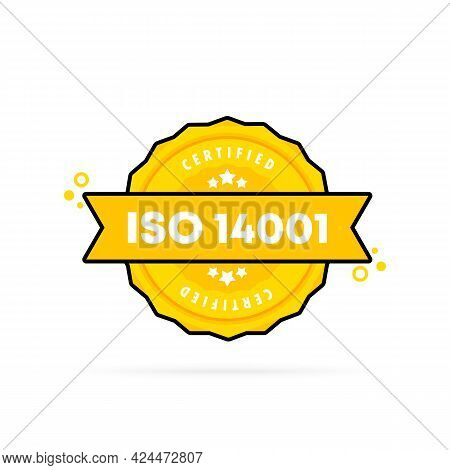 Iso 14001 Stamp. Vector. Iso 14001 Badge Icon. Certified Badge Logo. Stamp Template. Label, Sticker,