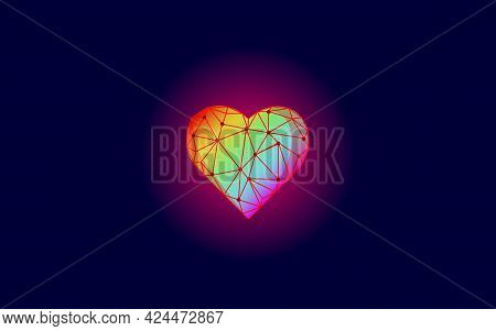 Low Poly 3d Rainbow Heart. Romantic Love Date Relationship Couple Silhouette Concept Design. Toleran