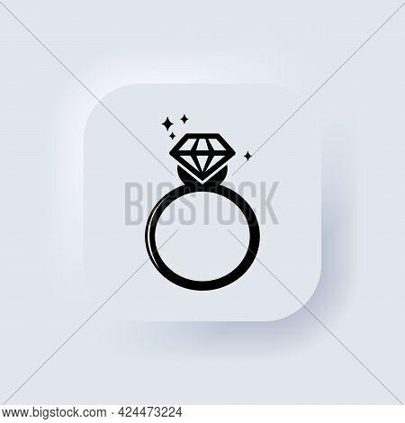 Rings Icons. Engagement Or Wedding Ring With Diamond. Ring With Diamond Logo. Neumorphic Ui Ux White